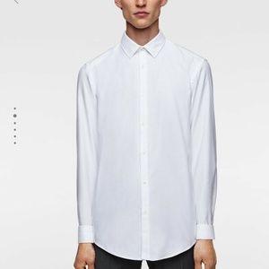 Zara Mens Shirt Slim Fit Easy Iron White